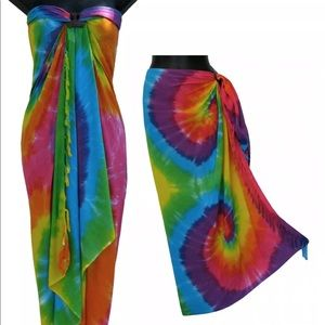 TIE DYE WRAP SARONG Hippie Bathing suit cover